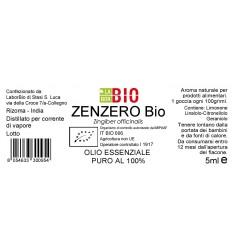Olio essenziale puro Zenzero etichetta
