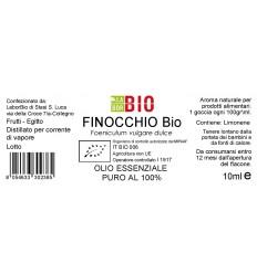 Olio essenziale puro Finocchio etichetta