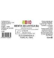 Olio essenziale puro Menta Selvatica etichetta