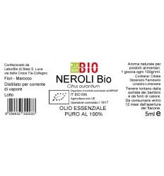 Olio essenziale puro Neroli etichetta