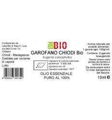 Olio essenziale puro Garofano Chiodi etichetta