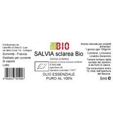 Olio essenziale puro Salvia Sclarea etichetta