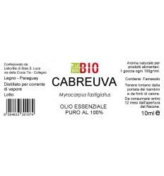 Olio essenziale puro Cabreuva etichetta