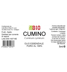 Olio essenziale puro Cumino etichetta