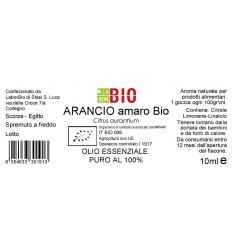 Olio essenziale puro Arancio Amaro etichetta