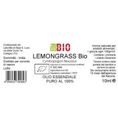 Olio essenziale puro Lemongrass etichetta