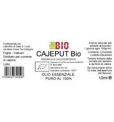 Olio essenziale puro Cajeput etichetta