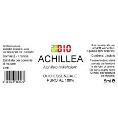 Olio essenziale puro Achillea etichetta