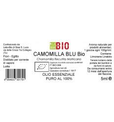 Olio essenziale puro Camomilla Blu etichetta