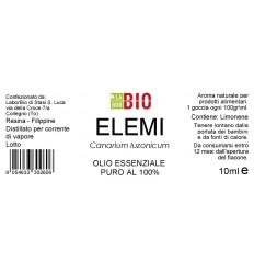 Olio essenziale puro Elemi etichetta