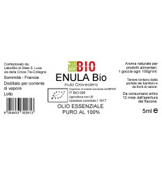Olio essenziale puro Enula etichetta