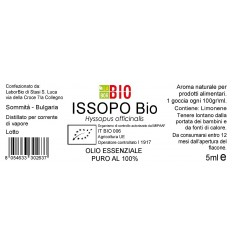 Olio essenziale puro Issopo etichetta