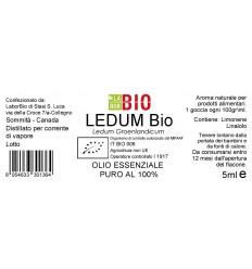 Olio essenziale puro Ledum etichetta