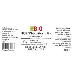 Olio essenziale puro Incenso olibano Bio 5ml etichetta